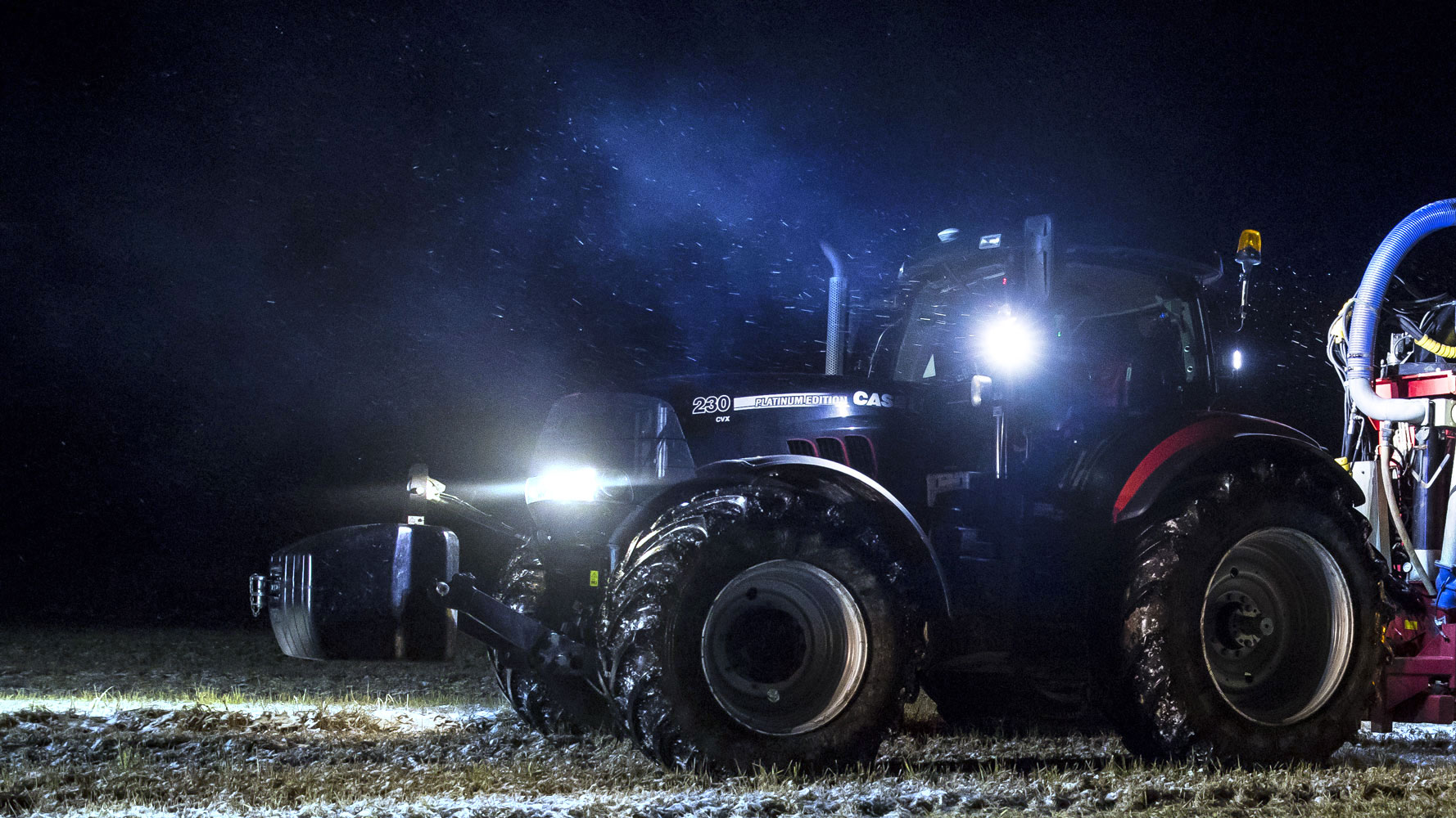 Nordic Lights LED lights mounted on tractor working on field