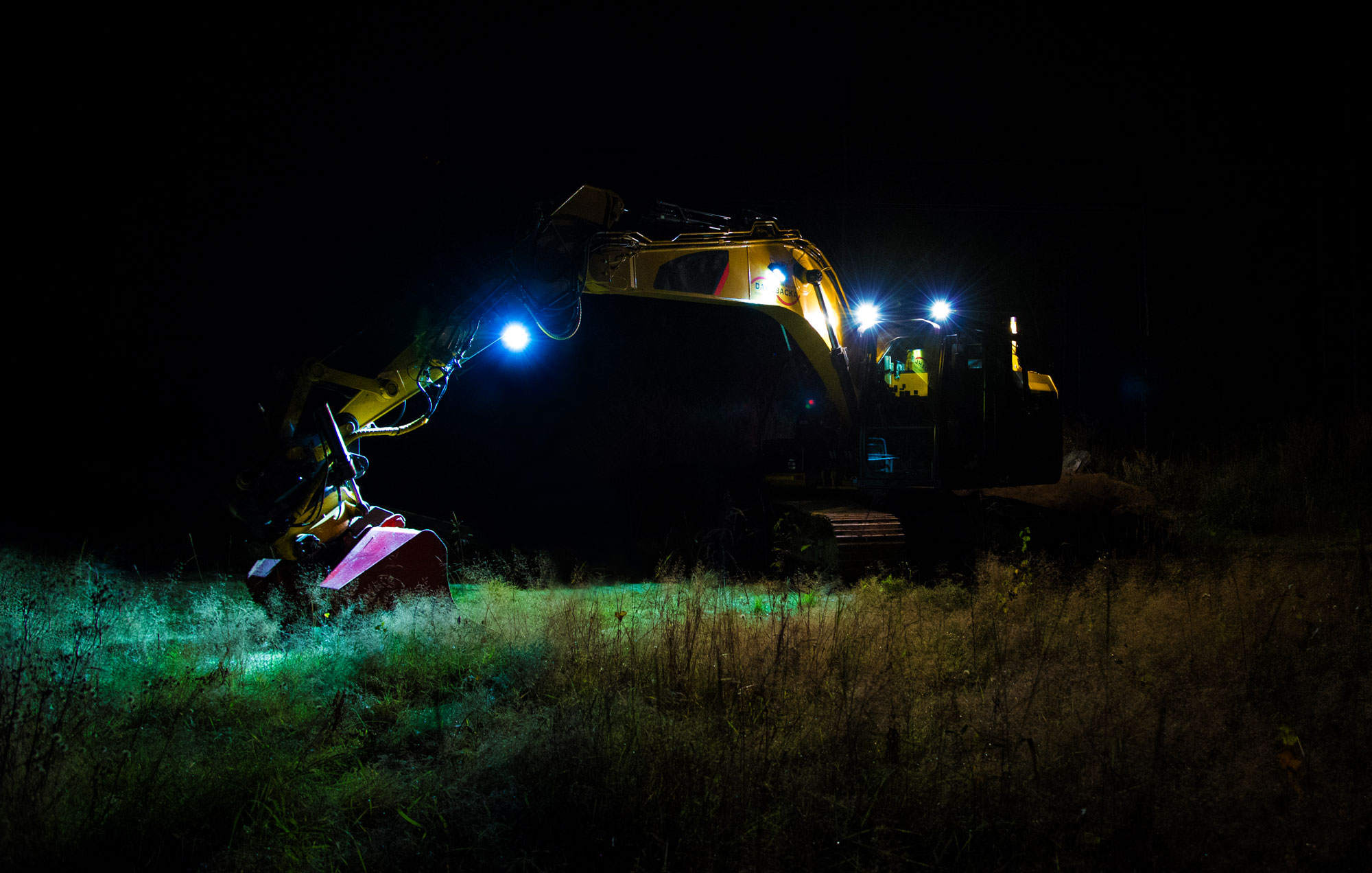 Yellow Excavator Digger equipped with LED Nordic Lights