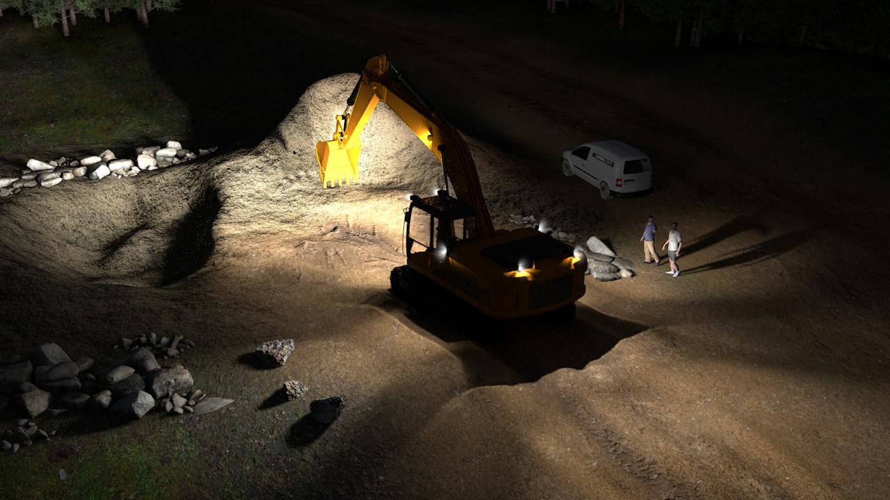 Simulação de exemplo da configuração profissional das luzes em LED para escavadeira para escavadeiras médias