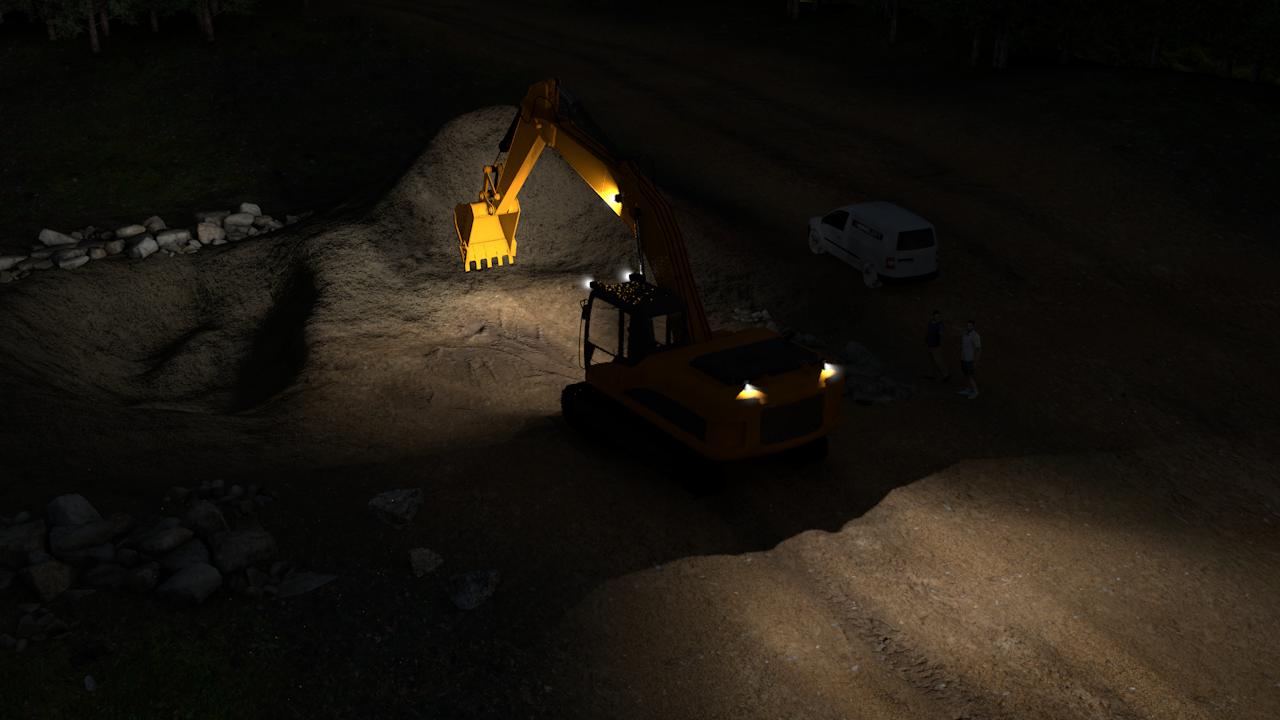 Simulação de exemplo da configuração básica das luzes em LED para escavadeira para escavadeiras médias