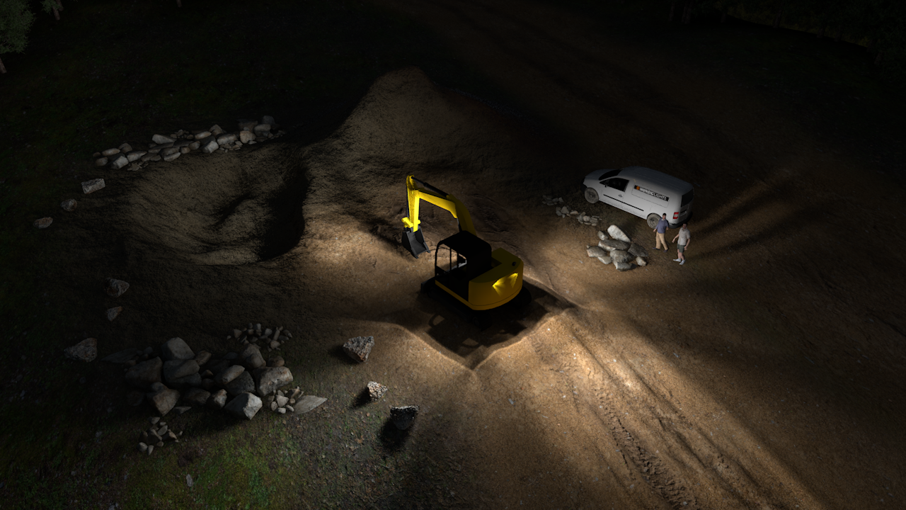 Example simulation of Led excavator lights for small excavators, compact baggers