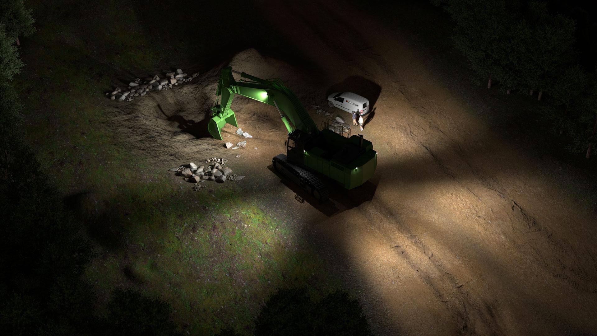 Beispielsimulation von Basis-LED-Baggerscheinwerfer für große Bagger
