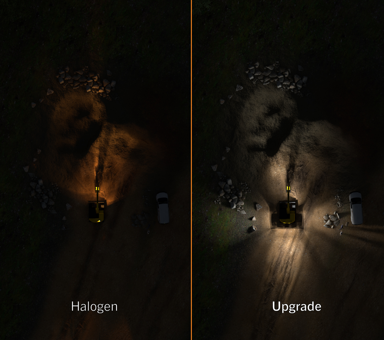 Simulated excavator light comparison of halogen vs Nordic Lights LED upgrade on small yellow excavator