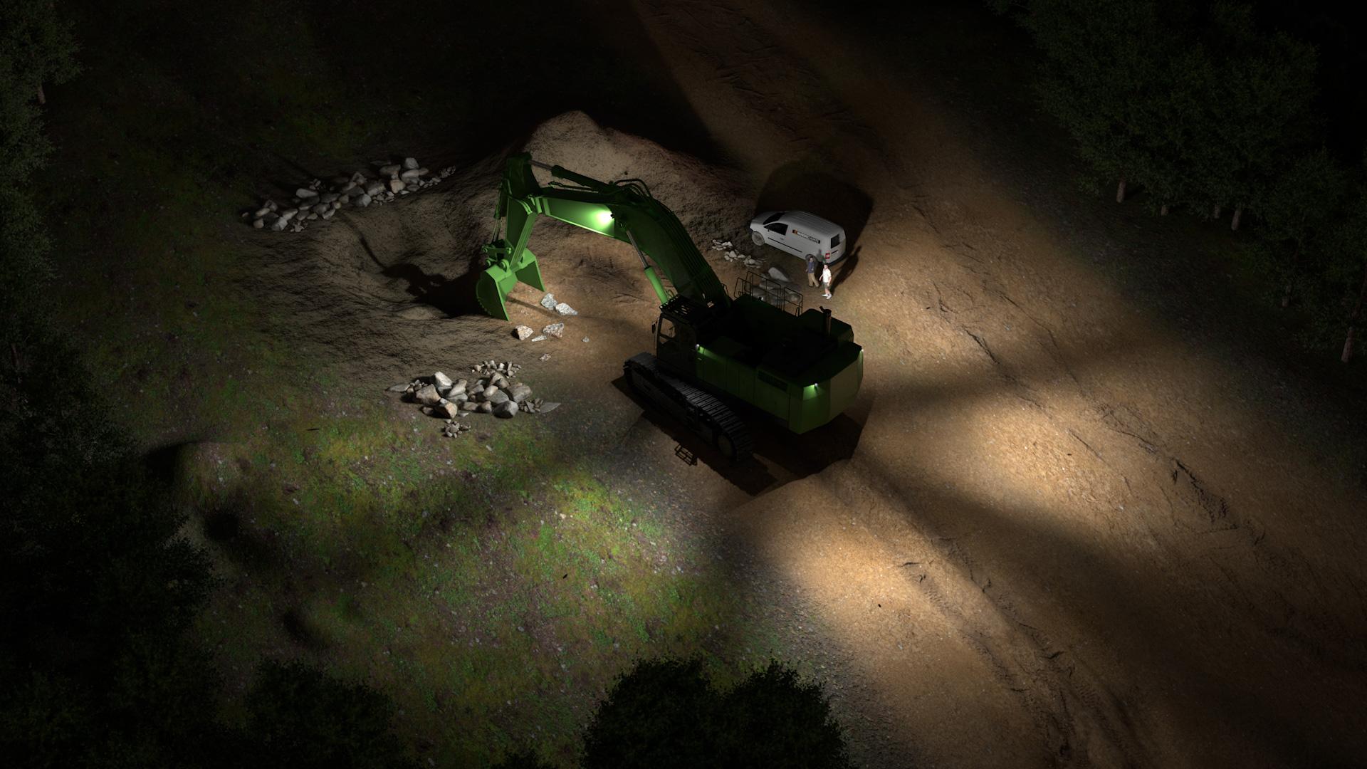 Simulação de exemplo das luzes em LED básicas para escavadeira grandes