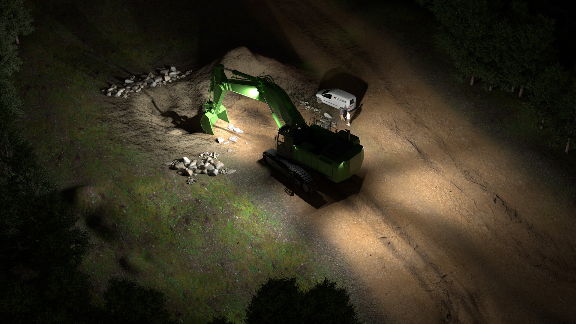 Example simulation of professional LED excavator lights for large excavators