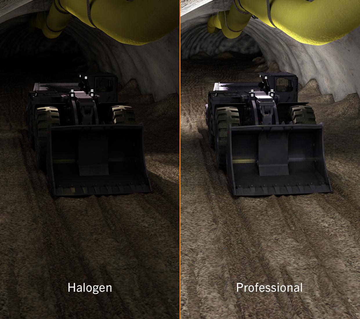 Simulierter Vergleich von Nordic Lights LED Scheinwerfern und Halogen Scheinwerfern